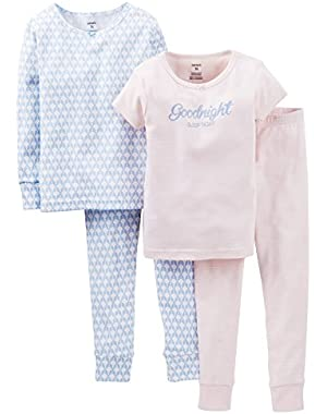 Carters Little Girls' Cotton Four Piece Pajamas (2T, Blue)