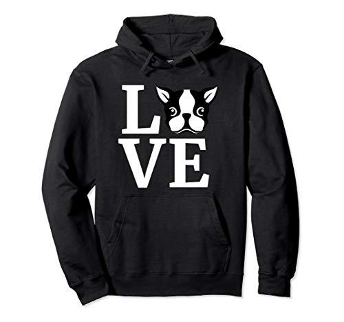 Boston Terrier Hoodie Love Bostie Hooded Sweater Dog Gift