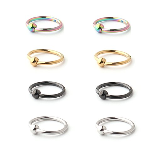 Ruifan 8PCS Assorted Colors Surgical Steel Captive Bead Rings Nose Belly Eyebrow Tragus Lip Ear Nipple Hoop Ring BCR 16G - Ball Lip Ring