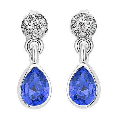 Élégant Brillant Diamante Royal Bleu foncé et Argent Goutte Boucles d'oreilles clous E909