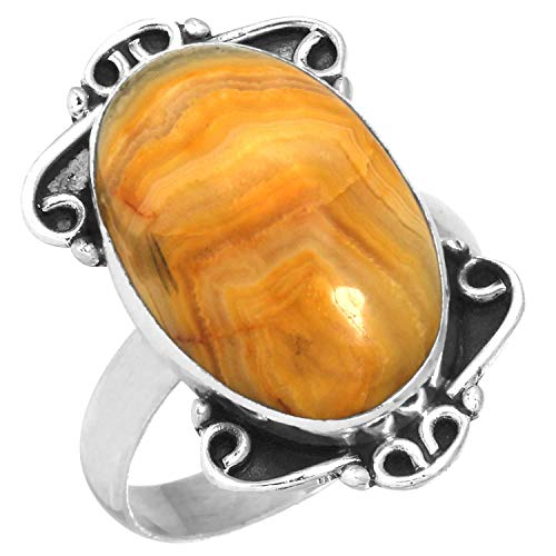 Solid 925 Sterling Silver Ring Natural Yellow Crazy Lace Agate Unique Jewelry Size 9 (Agate Lace Ring)