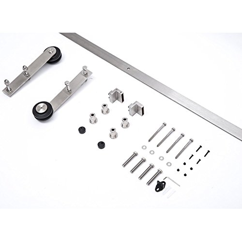 HomCom Modern 6' Interior Sliding Barn Door Kit Hardware Set - Flat Stainless Steel