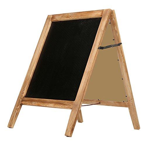 (MyGift 30-Inch Burnt Wood A-Frame Chalkboard Sign, Double Sidewalk Message Board)