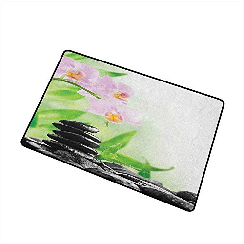 (Wang Hai Chuan Spa Inlet Outdoor Door mat Zen Basalt Stones and Orchid with Dew Peaceful Nature Theraphy Massage Meditation Catch dust Snow and mud W31.5 x L47.2 Inch Black Pink Green)