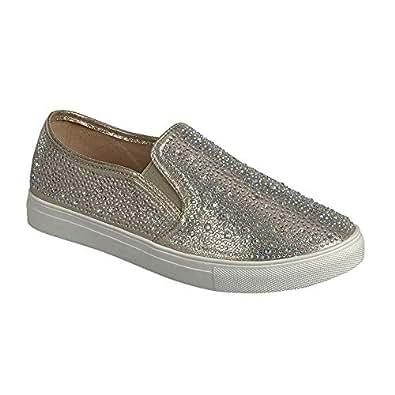 Women's Slip on Fashion Sneaker Diamonds Go Walk Sports Casual Flat Shoes Champagne 6