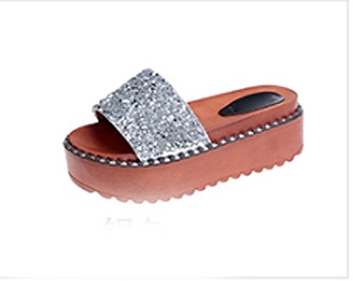 y y arrastrar AJUNR elegante Zapatillas Moda grueso 5 de Sandalias 36 s soltar bizcocho pendiente cm Transpirable plata a zapatos 38 qvFOxqS