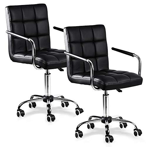 Yaheetech Desk Chairs/Office Chairs with Arms/Wheels for Teens/Students Modern Swivel Faux Leather Home Computer Black (2)