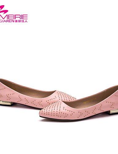 PDX/ Damenschuhe - Ballerinas - Lässig - Kunstleder - Flacher Absatz - Komfort / Spitzschuh / Geschlossene Zehe - Schwarz / Rosa pink-us6.5-7 / eu37 / uk4.5-5 / cn37