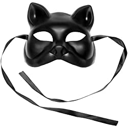 ILOVEMASKS Black Plain Arts and Crafts Cat Venetian Masquerade Party Face Mask
