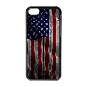 iPhone 5c Cell Phone Case Black custom Wood US Flag Iokiv