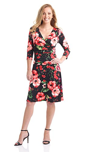 Rekucci Women's Slimming 3/4 Sleeve Fit-and-Flare Crossover Tummy Control Dress (6,Night Garden)