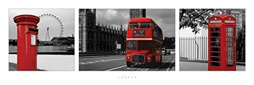 (12x36) London (Red Triptych, Post Box, Bus, Phonebooth) Art Poster Print