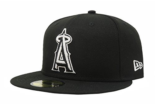 MLB Anaheim Angels Black with White 59FIFTY Fitted Cap, 7 1/4