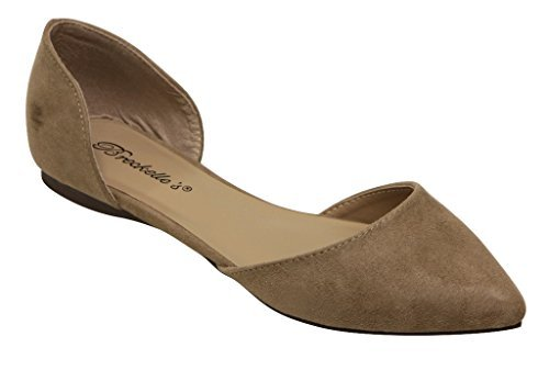 Breckelle's Dolley 52 Women's D'Orsay Flat Almond Pointed Toe Slip on Suede,8 B(M) US,Natural (Almond Pointy)