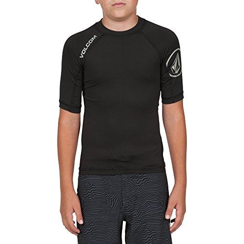 (Volcom Big Boys' Solid Short Sleeve Rashguard, Black, Medium (10-12) )