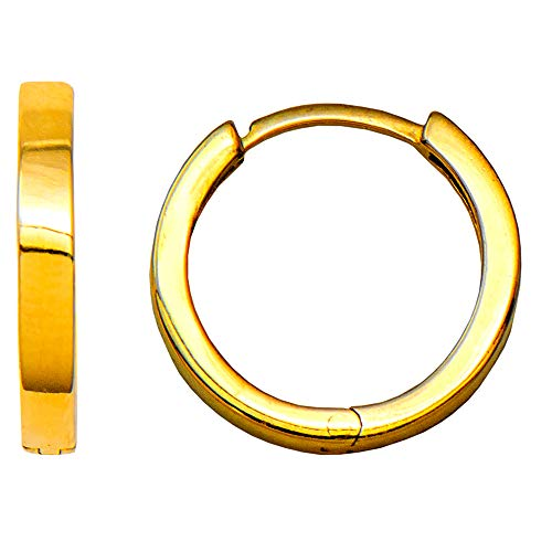 Small Yellow Gold Square-Tube Huggie Hoop Earrings, All Sizes (Thick & Small - 2.25mm x 14.7mm)