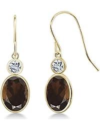 2.68 Ct Oval Brown Smoky Quartz White Topaz 14K Yellow Gold Earrings