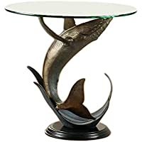 Humpback Whale Metal and Glass End Table