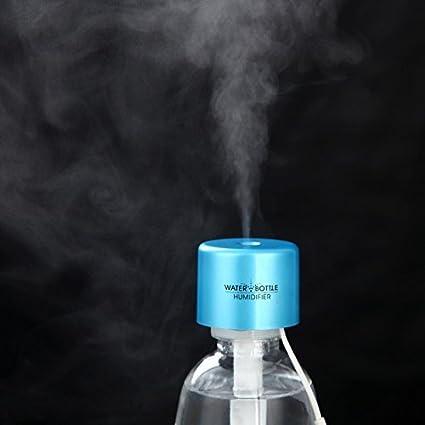 MyArmor ボトル加湿器 超音波式 USB ポータブル 癒される ペットボトル/カップが加湿器に変身 倒れでもこぼれない 自動オフ ミニ 卓上 車載加湿器(ブルーキャップ)