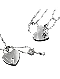 MGStyle Pendant Necklace Customized Engraving Working Heart Lock Key Copper Silver