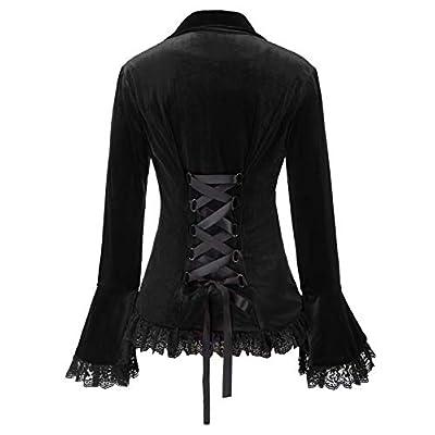 Women Victorian Coat Gothic Long Sleeve Lapel Collar Lace Trim Velvet Coat at Women's Clothing store