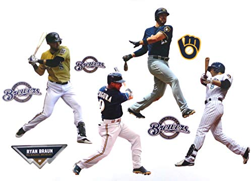 FATHEAD Milwaukee Brewers Mini Graphics Team Set 4 Players + 4 Brewers Logo Official MLB Vinyl Wall Graphics - Each Player 7