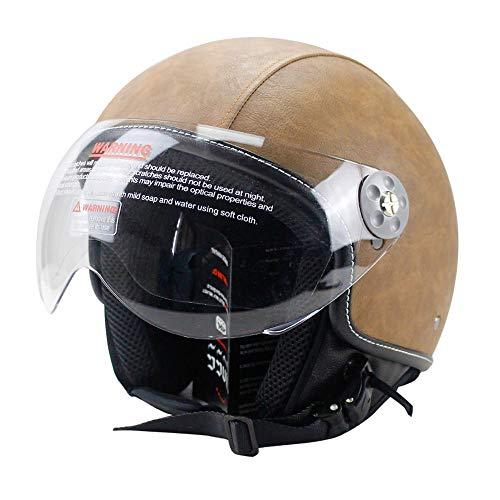 Woljay Leather Motorcycle Vintage Half Helmets Motorcycle Biker Cruiser Scooter Touring Helmet (M, Brown)