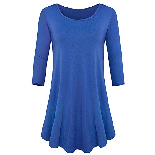 (TIFENNY Women's Three Quarter Sleeve Shirt Loose Fit Swing Tunic Tops Classic Basic T Shirt Fashion Casual Blouse)