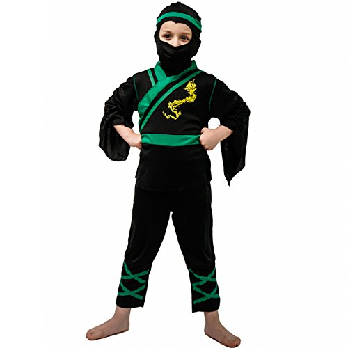 Kids Ninja Dragon Kung Fu Costumes Child Ninja Warrior Outfit Cosplay (7-9Y) Blue -