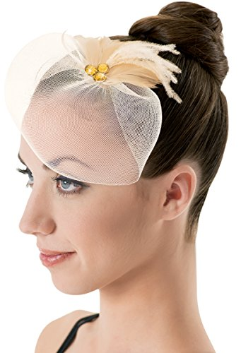 Brown Contemporary Dance Costume (Balera Dance Costume Mini Veil Fascinator with Feather and Rhinestone Accents)