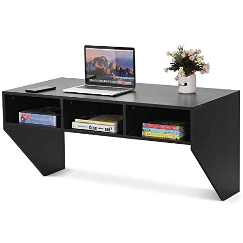Black Wall Mounted Floating Desk, Wall Mounted Console, Modern Wall Mount Storage Shelf