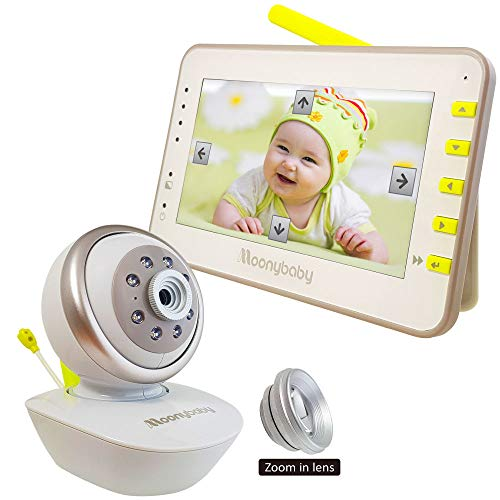 MoonyBaby Remote PAN TILT Camera with Comforting Night Light, Digital Video Baby Monitor 4.3″ LCD Large Screen, Power Saving/VOX Night Vision, Temperature Monitoring, 2-Way Talkback