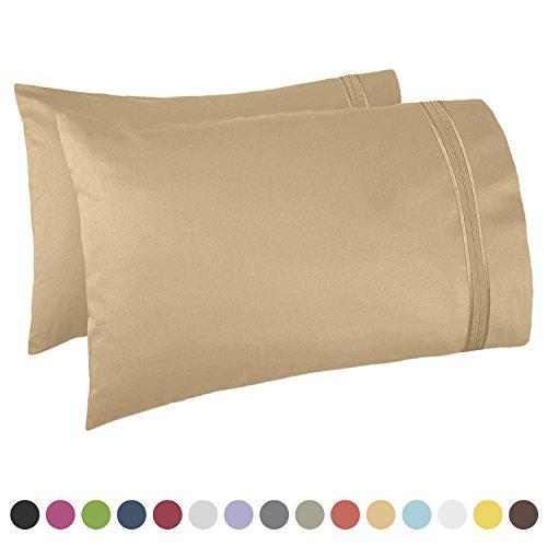 Gold Standard Pillow Set (Nestl Bedding Premier 1800 Pillowcase - 100% Luxury Soft Microfiber Pillow Case Sleep Covers - Hypoallergenic Sleeping Encasements - Queen Standard Size (20