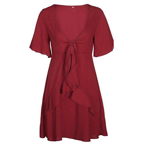 Kimodo Des Femmes De Robes Solides Manches Courtes Dames Feuille De Lotus Bowknot Vin Robe De Soirée
