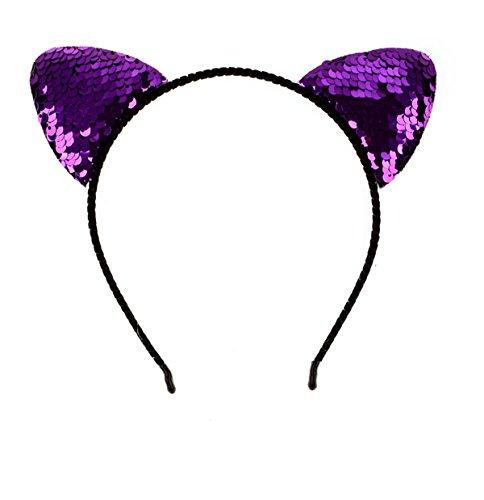 DreamLily Shiny Cat Ears Hair Band Fancy Dress Headpiece Festival Party Hair Hoop BC50 (Purple) - Medium Cap Hoop