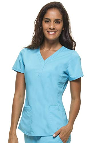 Purple Label by Healing Hands Scrubs Women's Jane V-neck 2 Pocket Top, 2X - Turquoise]()
