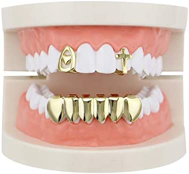 SunxwenGB Hip-Hop-Zahnspange Gold Oben und unten Grills Set Shiny Hip Hop Teeth Grills (Color : Gold)
