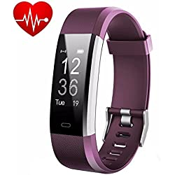 LETUFIT PLUS Fitness Tracker + Heart Rate Monitor,IP67 Waterproof Smart Wristband With Pedometer Watch for Android and Ios (purple)