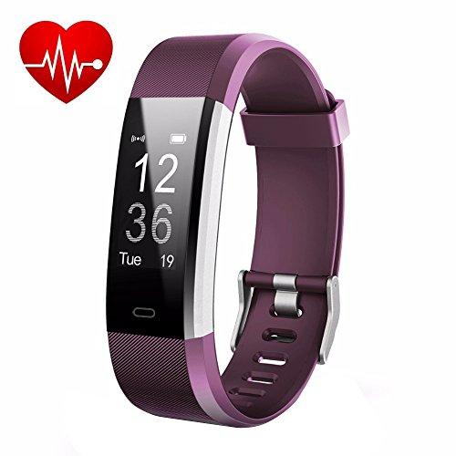 LETUFIT PLUS Fitness Tracker + Heart Rate Monitor - IP67 Waterproof Smart Wristband With Pedometer Watch for Android and Ios (purple)
