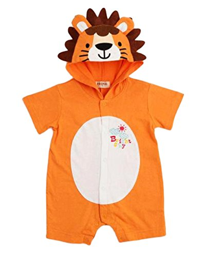 StylesILove Infant Toddler Baby Unisex Little Orange Lion Hoodie Romper Costume (80/12-18 (Orange Hooded Coverall)