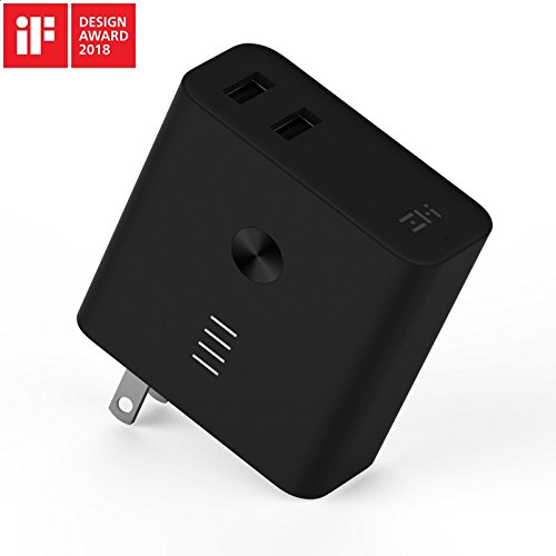ZMI Plugornot Zero Portable Charger 6700mAh with Dual USB Wall Charger, Foldable Plug and Quick Charge 3.0, Battery Pack for iPhone, iPad, Android, Samsung Galaxy and More