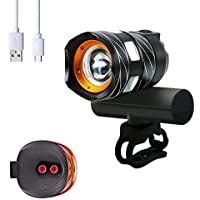 Bike Light Set USB Rechargeable - Bicycle Headlight Free...