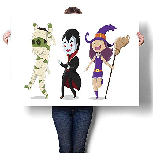 MartinDecor Wall Art Oil Paintings Halloween Monsters Including Mummy Witch and Dracula Decorative Fine Art Canvas Print Poster K 36