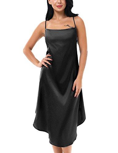 HuoGuo Women's Satin Long Chemise Lingerie Sleepwear Slip Nightgown S-XXL (Halloween Makeup Tutorial Fx)