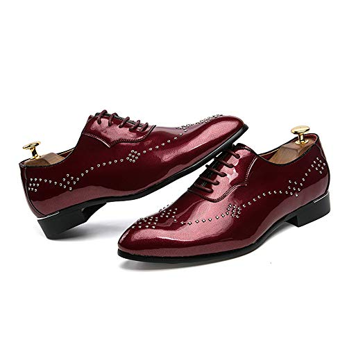 de Remache tamaño Casual Cuero 41 Hombres de Cuero Jusheng Patente Oxford Rojo de Brillante Personalidad Gris Zapatos de Negocios Puntiagudo Charol Color EU 846cCHwOq