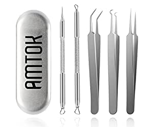 AMTOK Blackhead Remover Kit Curved Blackhead Tweezers Kit Pimple Comedone Extractor Tool Set Treatment for Blemish , Zit Popper (Tweezers Kit 5pcs)