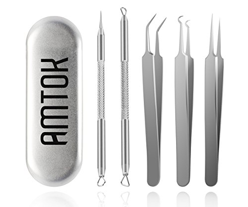 AMTOK Blackhead Remover Kit Curved Blackhead Tweezers Kit Pimple Comedone Extractor Tool Set Treatment for Blemish , Zit Popper (Tweezers Kit 5pcs) (Head Nose Needle)