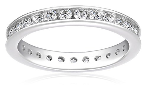 Platinum-Plated Sterling Silver Swarovski Zirconia Channel Set All-Around Band Ring (1 cttw), Size 8