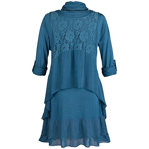 Women's Tunic Top Set - Clouds Of Lace 2 Piece Shirt And Vest - Teal - 2X