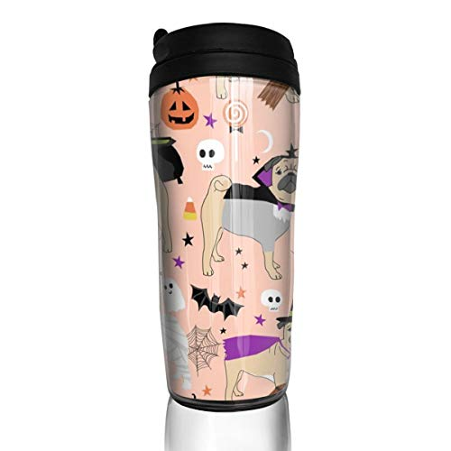Pug Halloween Costume - Cute Dogs In Costumes - Peach_24623 Coffee Mug 12 Oz Spill Proof Flip Lid Water Bottle Environmental Protection Material ABS ()